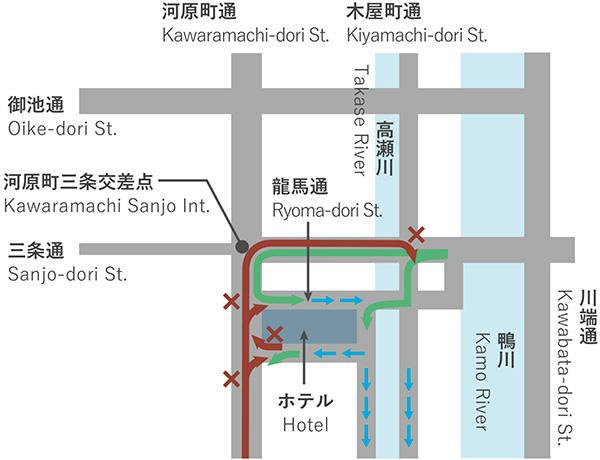 ホテル周辺の交通規制について